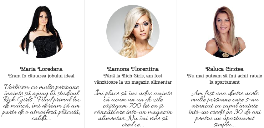 Testimoniale modele Rich Girls
